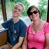 Becky and Jeremy on the train back down to the Schloss Drachenburg.