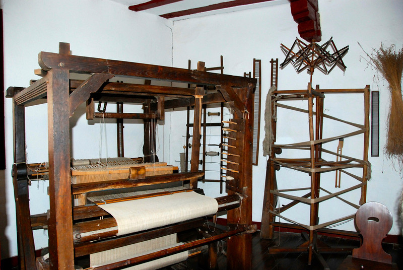This room was full of household tools, like this loom.