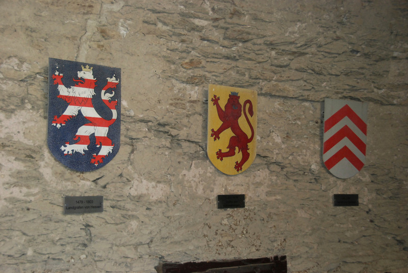 The shields of the first three families that owned the castle.