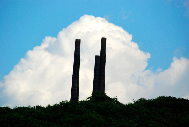 These smokestacks are left from the days when mining was done in the hills.
