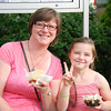 Becky and Emma with their ice cream.