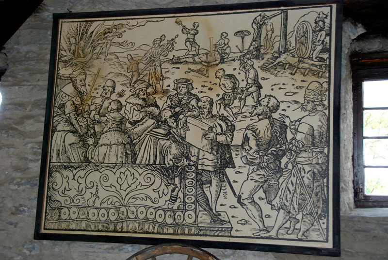 This tapestry illustrates people gathering for a hanging. This used to be high entertainment.