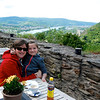 Becky and Emma at the cafe, with a view of the Rhine River in the background.