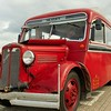 """I liked this colorful, old bus. The make is """"Bedford""""."""