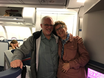 Our 33rd anniversary, celebrated on a plane