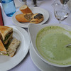 Spargel (asparagus) soup and a sandwich at the Winter Garden.<br /> <br /> Berlin, Germany