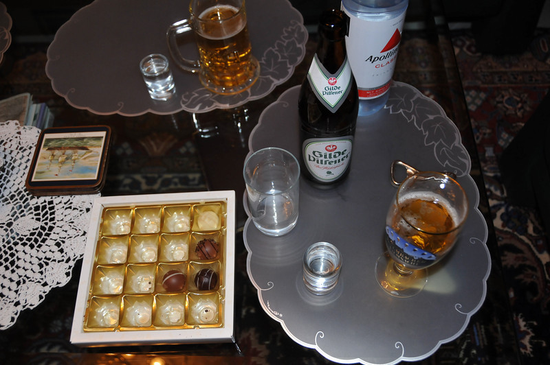 Evening schnapse, beer, and praline at Onkel Peter and Tante Christa's house.<br /> <br /> Hannover, Germany