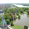 View of the large lake and city park behind city hall. <br /> <br /> Hannover, Germany