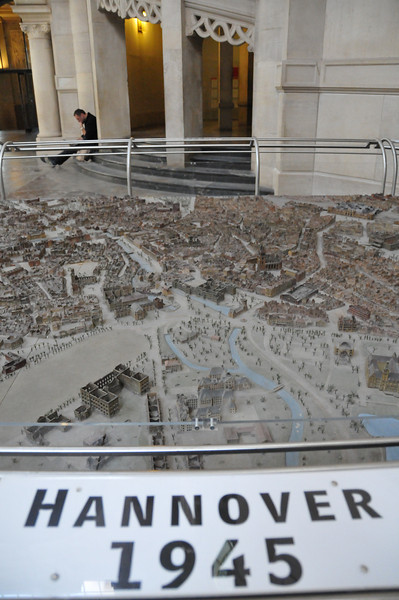 In the main area inside of city hall they had several models depicting Hannover from the 1600's, Pre-WWII, this one just post WWII, and modern Hannover. You could really see just destroyed the city was from the war.<br /> <br /> Hannover, Germany