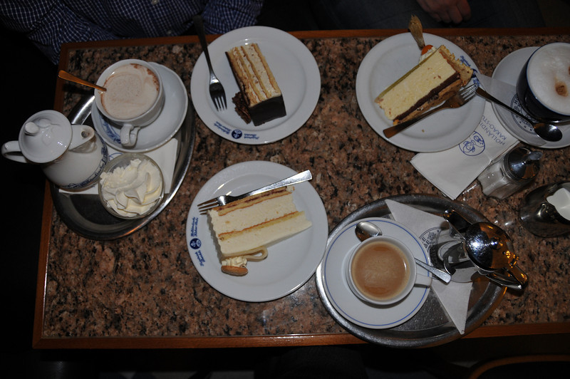 correction... Cousins who enjoy cake and coffee. Mine was a marzipan torte -- thanks to Mike's prodding to go for a special piece at the Hollandish Cafe. <br /> <br /> Hannover, Germany