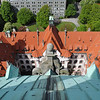 View titling down one of the sides of city hall. <br /> <br /> Hannover, Germany