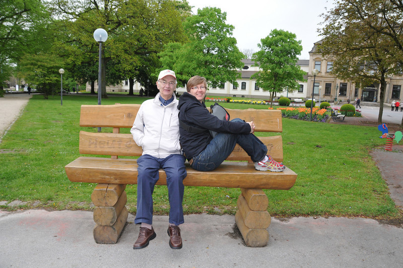 I like this shot of Papa and I... its on a bench that you have to hop up on and you can freely swing your legs.
