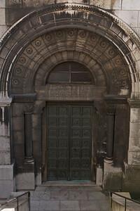 Door to lower level of Sacre Coeur