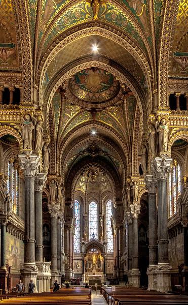 La Basilique Notre Dame de Fourvière, Lyon, France sits high above Lyon, France.