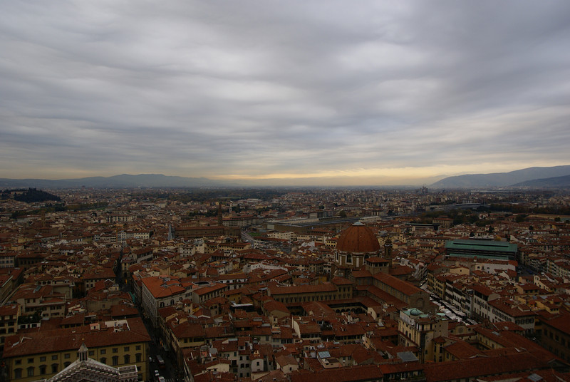 Taken from on top of the Duomo, you can see the dome of The Basilica di San Lorenzo.  Florence, Italy
