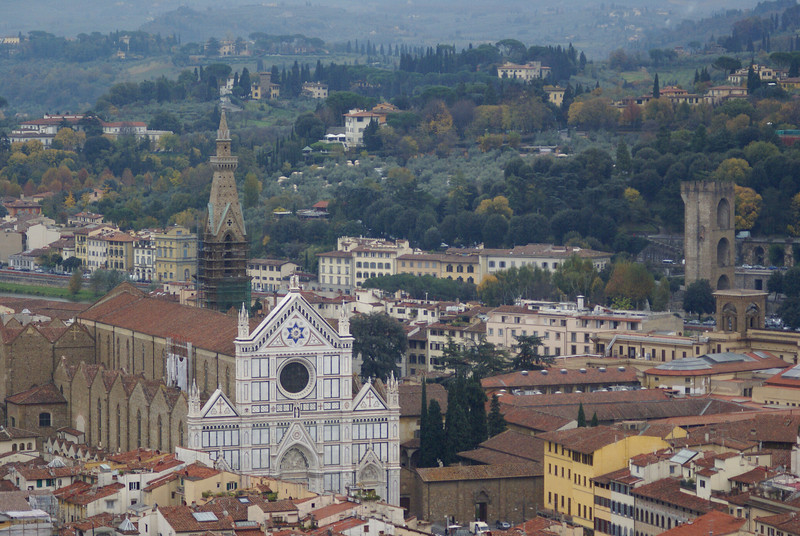 Basilica di Santa Croce as seen from the top of the Duomo.  Florence, Italy
