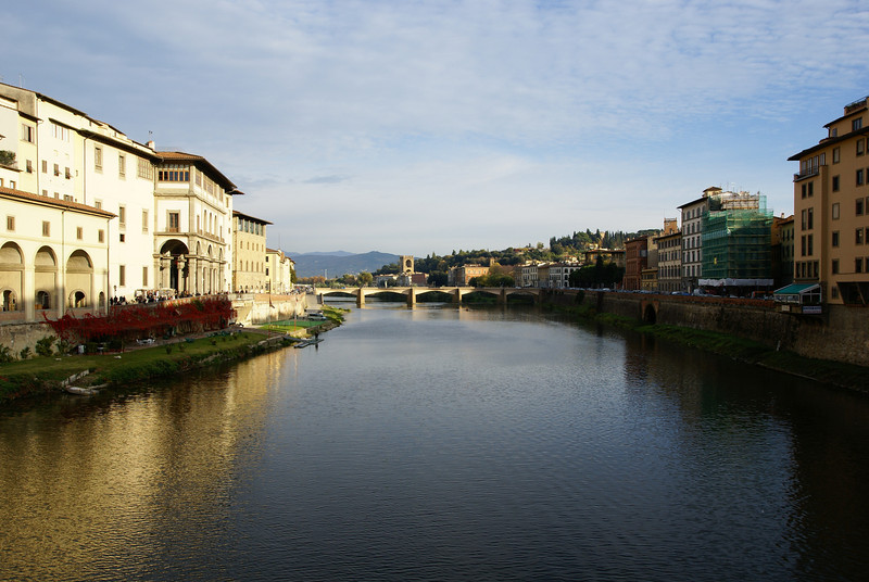 A view of the River Arno taken from the Ponte Vecchio.  Florence, Italy