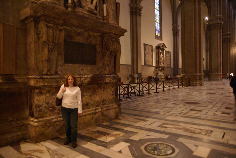 Jennifer standing next to one of the support columns for the Florence Duomo.  The columns are huge!  But this was noting compared to what we would see later in our trip.