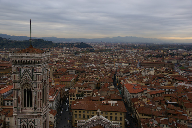 Standing outside of the dome, looking over the Duomo and the Bell Tower.  Florence, Italy.