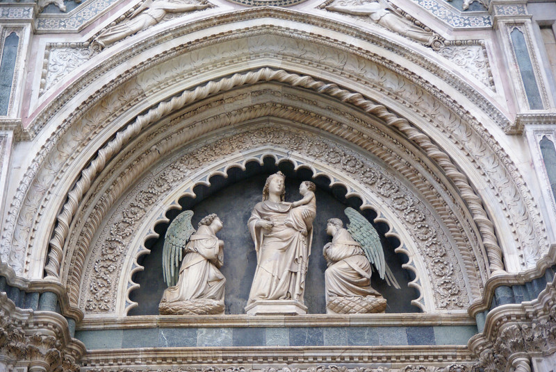 Sculpture on the side of the Duomo.  Florence, Italy.
