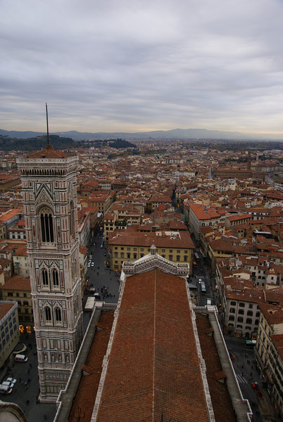 Looking down on the Duomo and Bell Tower.  Florence, Italy