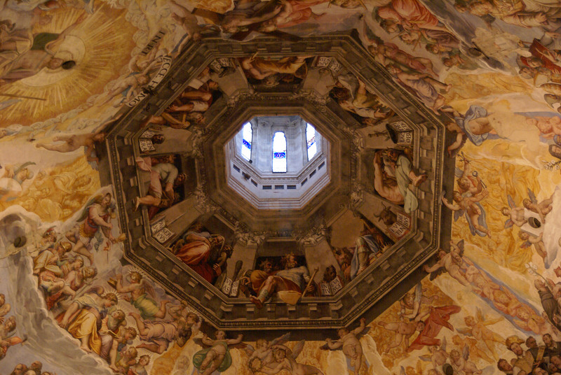 Iterior shot of the dome of the Duomo.  This was taken on the climb up to the top of the dome.  Florence, Italy