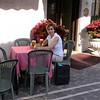 Kim at our hotel in Lido, Albergo Quatro Fontane