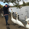 Alan getting mobbed by swans as he tries to feed them.