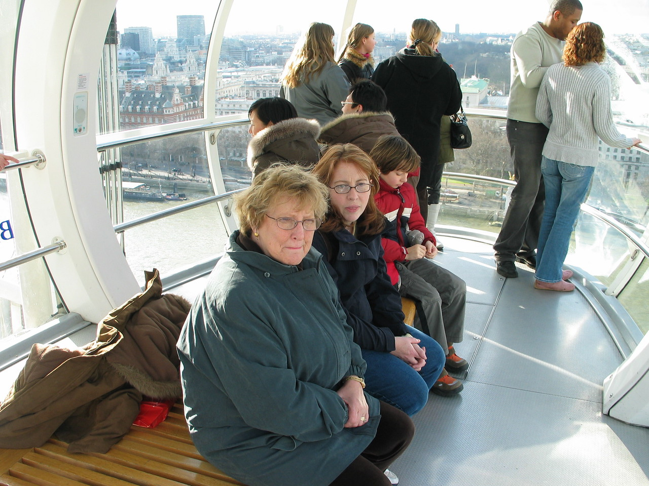 <b>Inside the London Eye.  Mom wouldn't get close to the windows.</b>