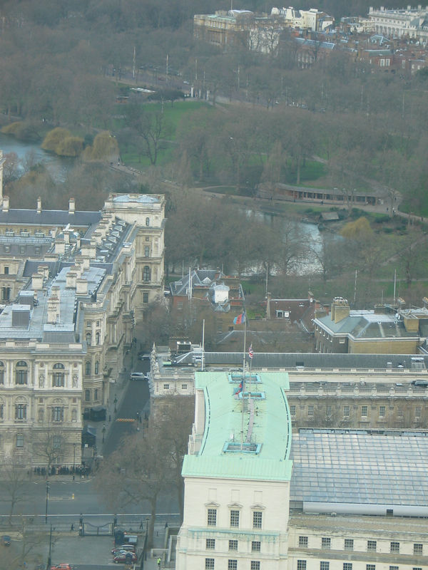 <b>No. 10 Downing Street (not the green roof, but ust above it). - taken from inside the London Eye.</b>