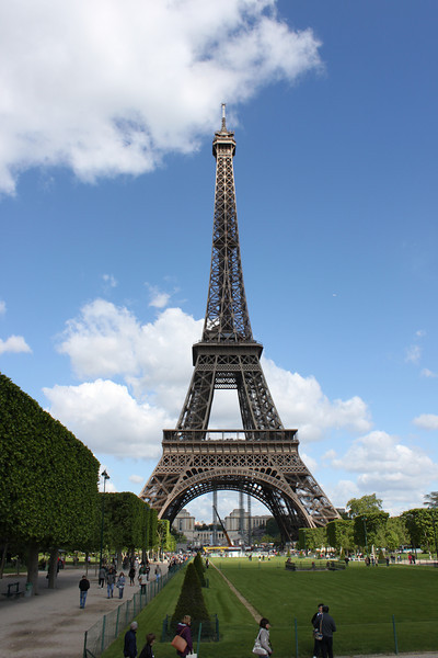 Eiffel Tower is about 5 blocks from our hotel.  Champ de Mars park in front of Eiffel Tower.