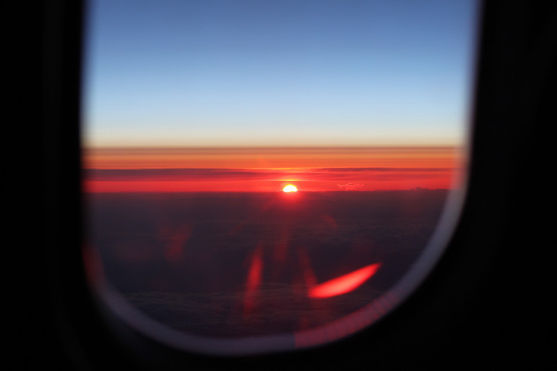 Sun rise from our plane, almost to Paris.  We arrived at 6:45am.