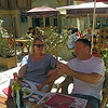 Mel and Steve at a bistro in Sommieres.