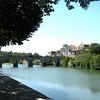 Roman bridge spanning Vidourie River in Sommieres, Langeduoc.