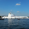 """This $400,000,000 super yacht cruised into Amsterdam Harbor while we were settling into our state room.  It is named simply """"A"""" after the 44 year-old Russian billionaire, Andrey Melnichenko's wife, Aleksandra."""