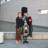 Kim with a bagpiper.
