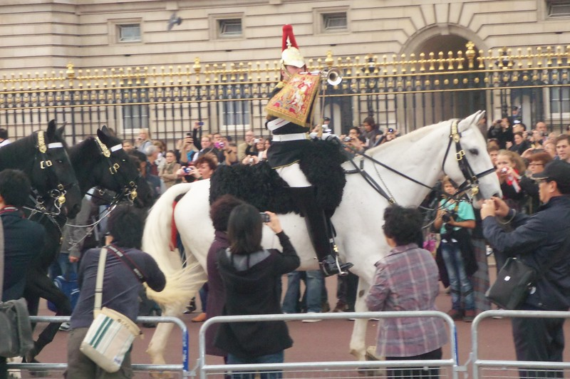In front of Buckingham Palace, a parade of guards on horses.  (Photo by William)