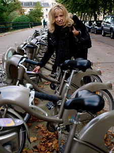 All over Paris there were these rows of Bikes that you could rent with a pre-paid pass purchased like a bus or subway pass.