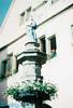 Fountain in town square.