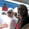 Chris and Alex on the ferry to Ambergris Cay.