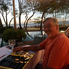 Alan at Langosta Beach club waiting for dinner on our belated Valentines Day dinner.
