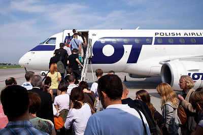 Boarding for LOT flight to Odessa out of Warsaw, Poland.