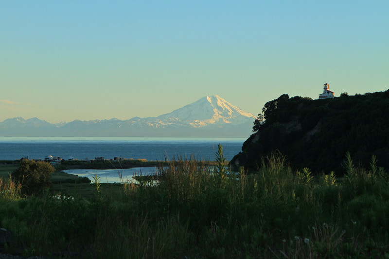 Redoubt volcano and Transfiguration of Our Lord Russian Orthodox Church