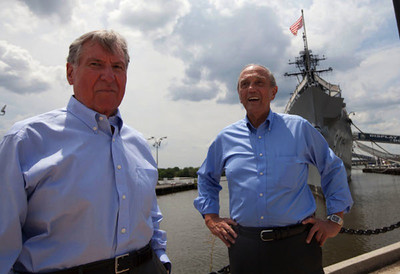 Nashville's Gary Slaughter (l) and Andy Bradick (r), were USS Cony officers involved in forcing B-59 to surface during the Cuban Missile Crisis.