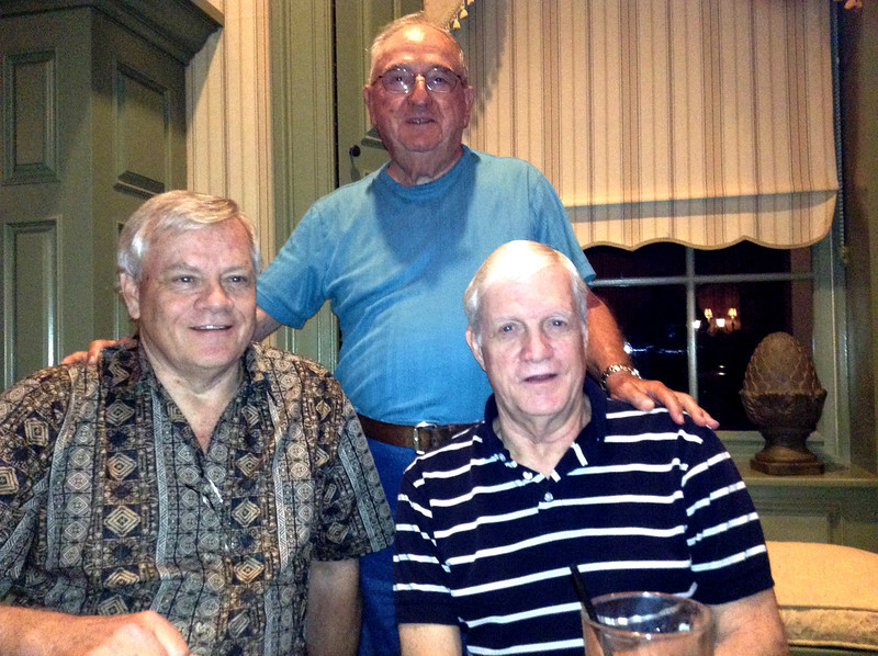 John Francis Donaldson, Dick Bailey, Gerald Thomas Donaldson. Dick was John's boss for many years at Teradyne. They've known each other for about 42 years. Jerry then also worked at Teradyne for Dick as well for several years. Dick and John live in California, have kept in touch, and this dinner was scheduled around common travel plans to The Villages where Jerry and Joyce live. March 18, 2013