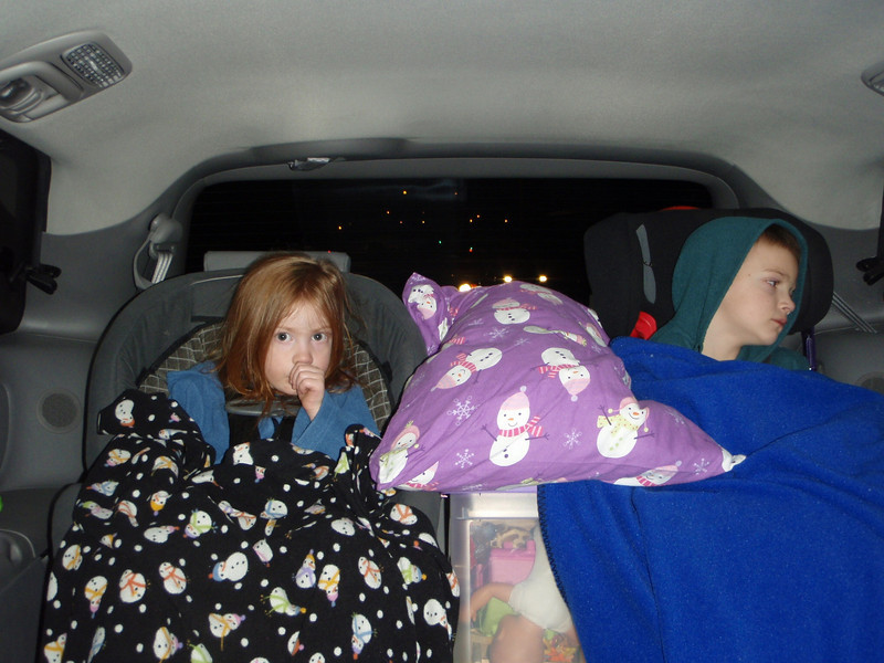 The kids getting ready for the first night of driving.  Don't they look comfy!