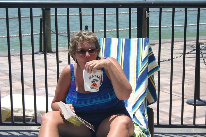 Lynann enjoys a refreshing beverage in Florida ( 2011 )