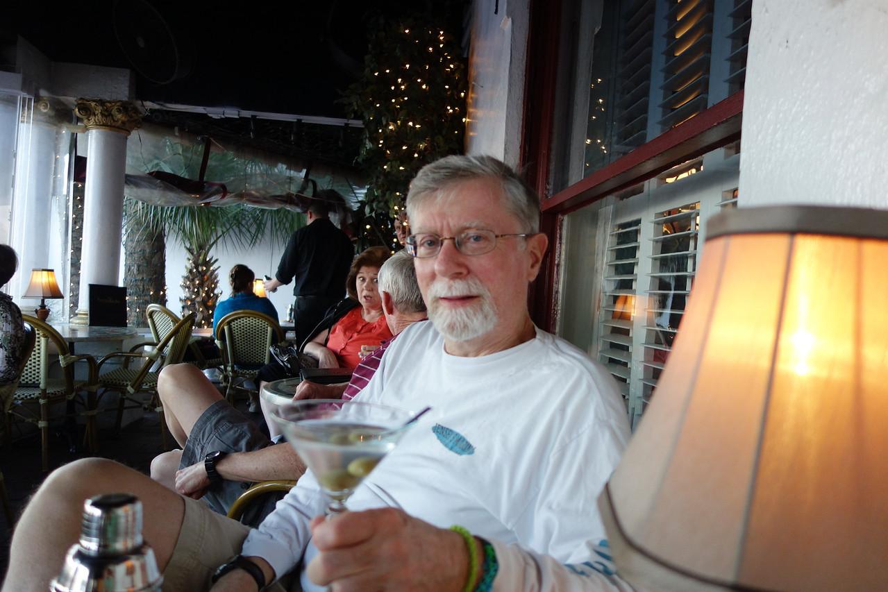 David and his martini.  celebrating warm weather