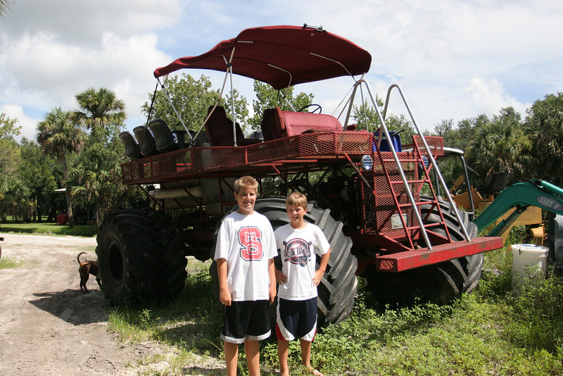 "Matt and Will with a ""swamp buggy"" in Lake Trafford"