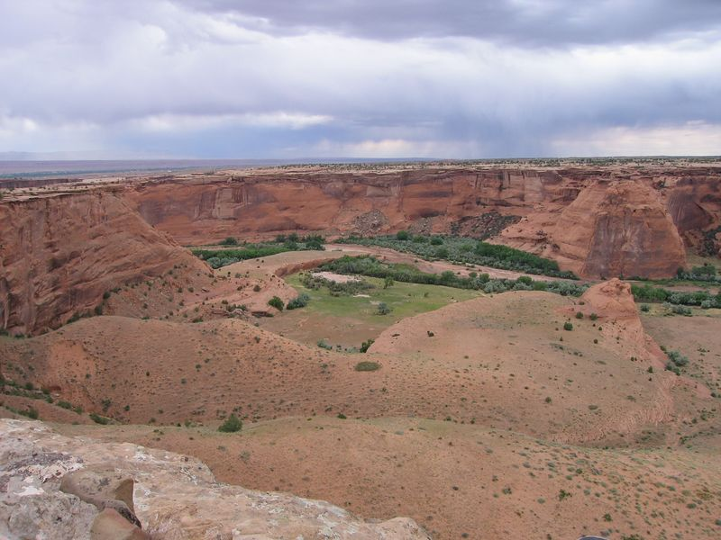 Canyon de Chelly where the Anasazi lived and farmed. The Navajo live and farm here now.